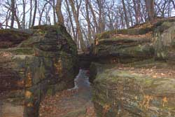 a rock crevice that the Gorge trail goes through.
