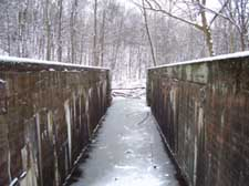A photograph of Deep Lock, or Lock 28 on the ohio and Erie Canal in the winter.